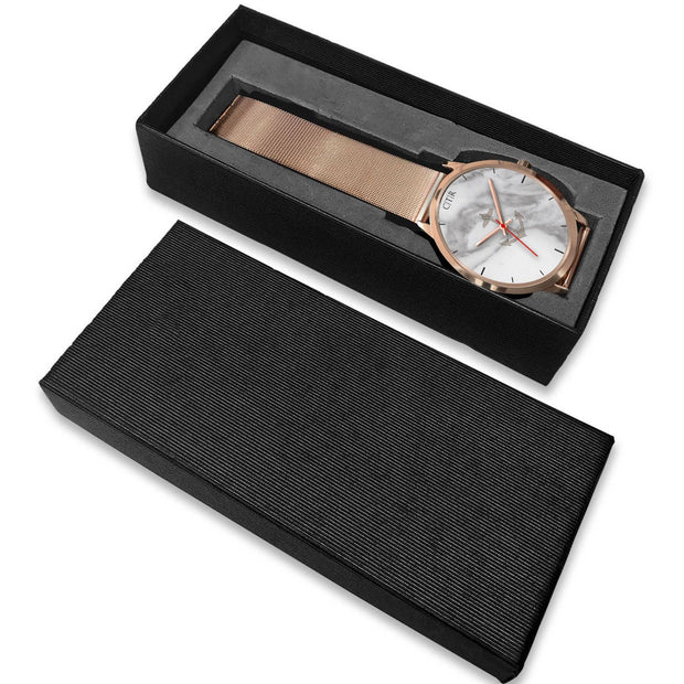 wc-fulfillment Rose Gold Watch Rhode Island - Light Marble