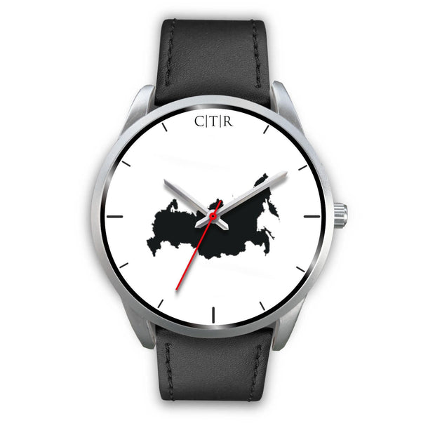 wc-fulfillment Silver Watch Mens 40mm / Black Leather Russia - Simple Silver
