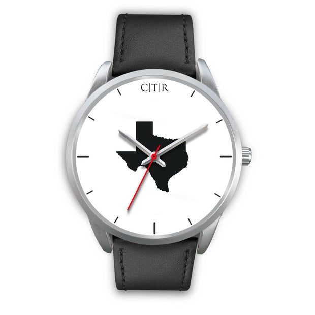 wc-fulfillment Silver Watch Mens 40mm / Black Leather Texas - Simple Silver