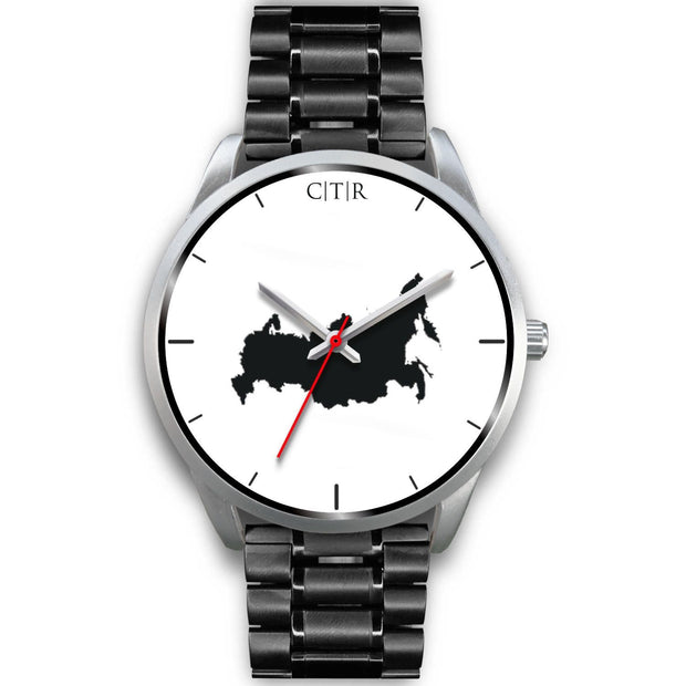 wc-fulfillment Silver Watch Mens 40mm / Black Metal Link Russia - Simple Silver