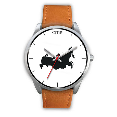 wc-fulfillment Silver Watch Mens 40mm / Brown Leather Russia - Simple Silver