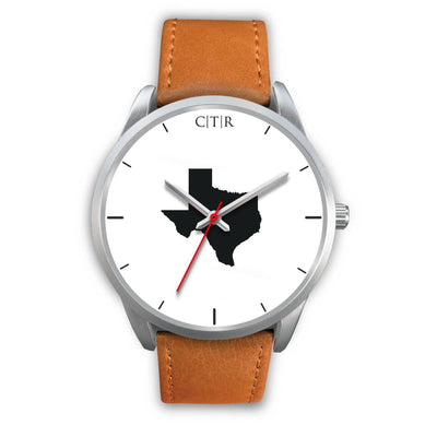 wc-fulfillment Silver Watch Mens 40mm / Brown Leather Texas - Simple Silver