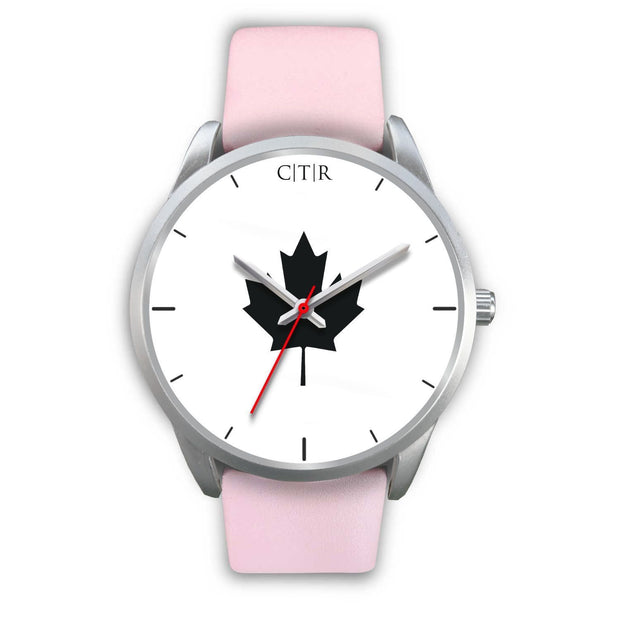 Canada Watch - Simple Silver Silver Watch wc-fulfillment Mens 40mm Pink Leather Country Flag Socks, State Socks, Flag Socks, Patriotic Socks, Patriotic Products, Country Watches