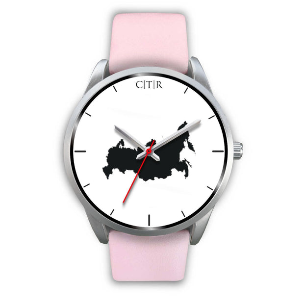 wc-fulfillment Silver Watch Mens 40mm / Pink Leather Russia - Simple Silver