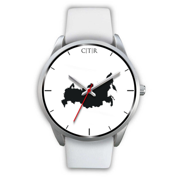 wc-fulfillment Silver Watch Mens 40mm / White Leather Russia - Simple Silver