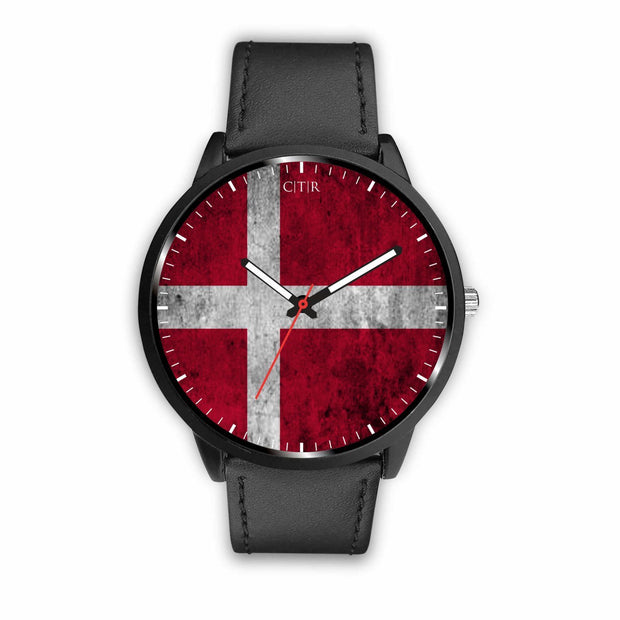 Denmark Flag Watch Watch wc-fulfillment Mens 40mm Black Country Flag Socks, State Socks, Flag Socks, Patriotic Socks, Patriotic Products, Country Watches