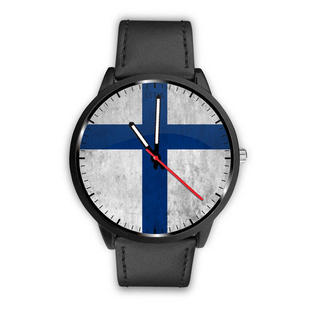 Finland Flag Watch Watch wc-fulfillment Mens 40mm Black Country Flag Socks, State Socks, Flag Socks, Patriotic Socks, Patriotic Products, Country Watches