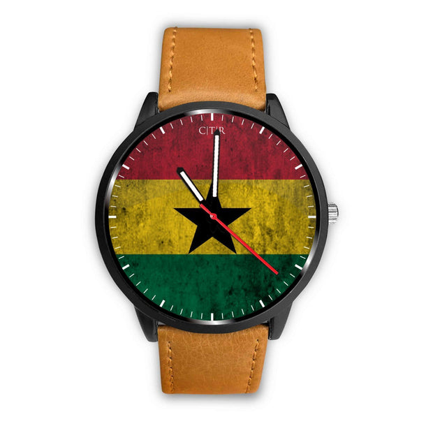 Ghana Flag Watch Watch wc-fulfillment Mens 40mm Brown Country Flag Socks, State Socks, Flag Socks, Patriotic Socks, Patriotic Products, Country Watches