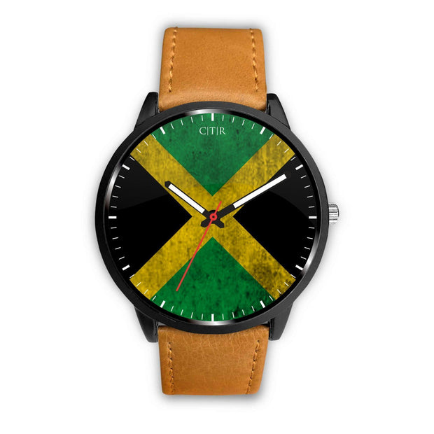 Jamaica - Flag Watch Watch wc-fulfillment Mens 40mm Brown Country Flag Socks, State Socks, Flag Socks, Patriotic Socks, Patriotic Products, Country Watches