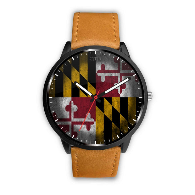 Maryland - Flag Watch Watch wc-fulfillment Mens 40mm Brown Country Flag Socks, State Socks, Flag Socks, Patriotic Socks, Patriotic Products, Country Watches