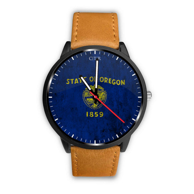 wc-fulfillment Watch Mens 40mm / Brown Oregon - Flag Watch