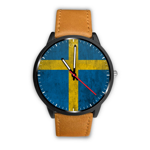 wc-fulfillment Watch Mens 40mm / Brown Sweden - Flag Watch