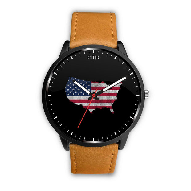 wc-fulfillment Watch Mens 40mm / Brown United States - Flag Watch