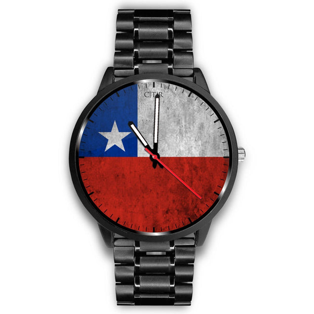 Chile Flag Watch Watch wc-fulfillment Mens 40mm Metal Link Country Flag Socks, State Socks, Flag Socks, Patriotic Socks, Patriotic Products, Country Watches