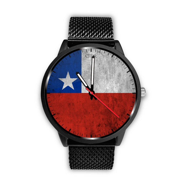 Chile Flag Watch Watch wc-fulfillment Mens 40mm Metal Mesh Country Flag Socks, State Socks, Flag Socks, Patriotic Socks, Patriotic Products, Country Watches
