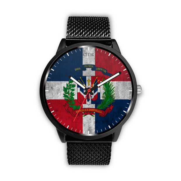 Dominican Republic Flag Watch Watch wc-fulfillment Mens 40mm Metal Mesh Country Flag Socks, State Socks, Flag Socks, Patriotic Socks, Patriotic Products, Country Watches