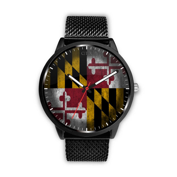 Maryland - Flag Watch Watch wc-fulfillment Mens 40mm Metal Mesh Country Flag Socks, State Socks, Flag Socks, Patriotic Socks, Patriotic Products, Country Watches