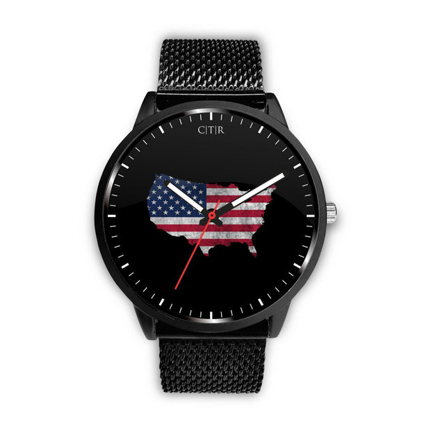 wc-fulfillment Watch Mens 40mm / Metal Mesh United States - Flag Watch