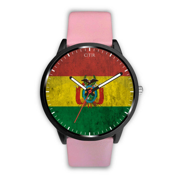 Bolivia Flag Watch Watch wc-fulfillment Mens 40mm Pink Country Flag Socks, State Socks, Flag Socks, Patriotic Socks, Patriotic Products, Country Watches