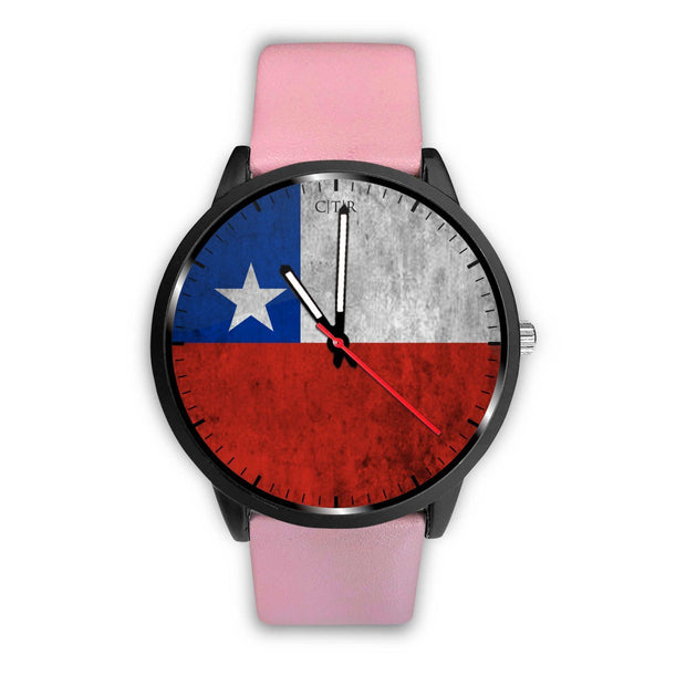 Chile Flag Watch Watch wc-fulfillment Mens 40mm Pink Country Flag Socks, State Socks, Flag Socks, Patriotic Socks, Patriotic Products, Country Watches