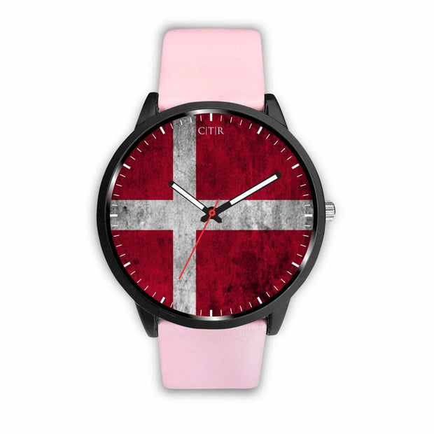 Denmark Flag Watch Watch wc-fulfillment Mens 40mm Pink Country Flag Socks, State Socks, Flag Socks, Patriotic Socks, Patriotic Products, Country Watches