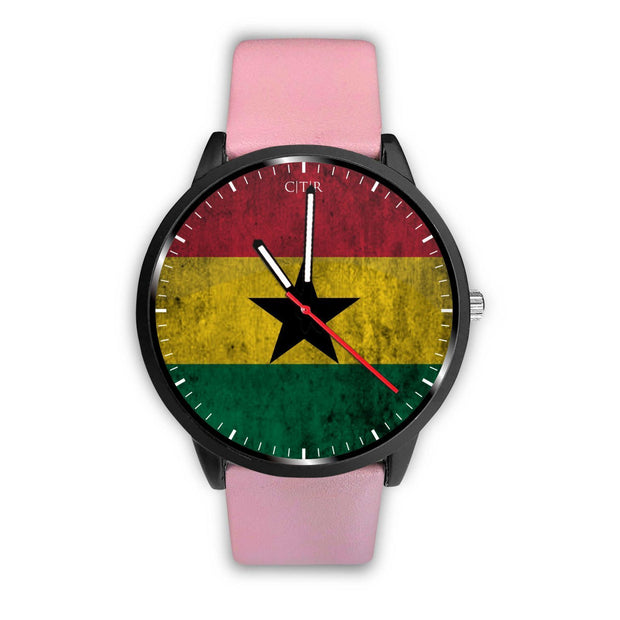 Ghana Flag Watch Watch wc-fulfillment Mens 40mm Pink Country Flag Socks, State Socks, Flag Socks, Patriotic Socks, Patriotic Products, Country Watches