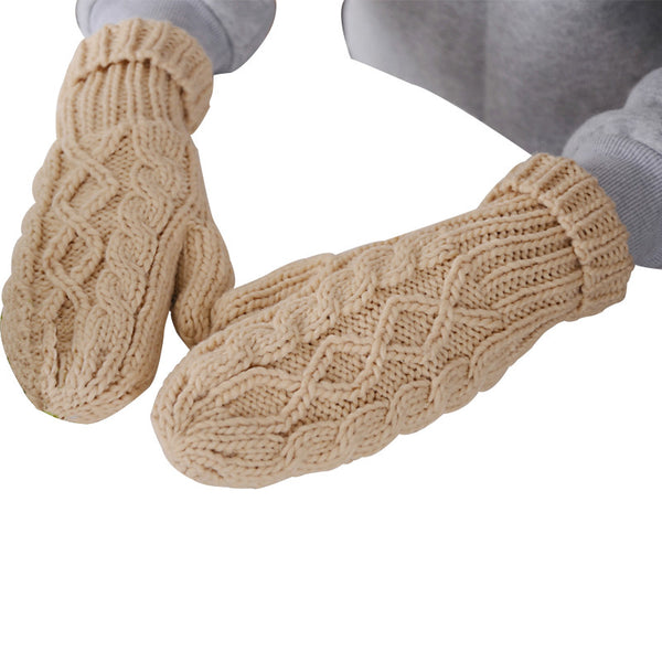 Warm Winter knitted Cashmere Twisted Gloves