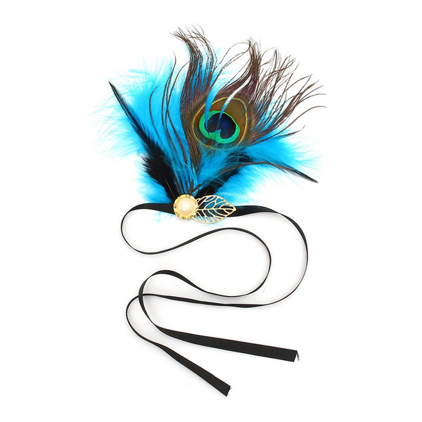 Peacock Great Gatsby Blue, Black & Gold Feather Elastic Hair Bands