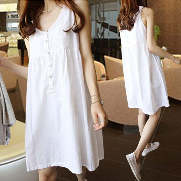 Sleeveless O Neck Tank Dress
