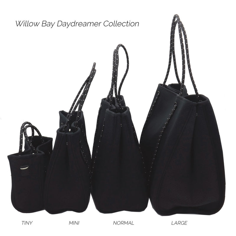 DAYDREAMER Neoprene Tote Bag dengan penutup - NAVY LEATHER LOOK