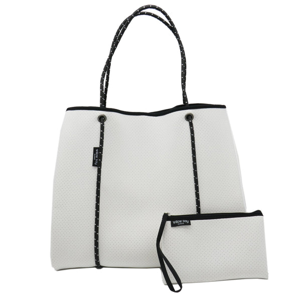 DAYDREAMER LARGE Neoprene Tote Bag with Closure - White