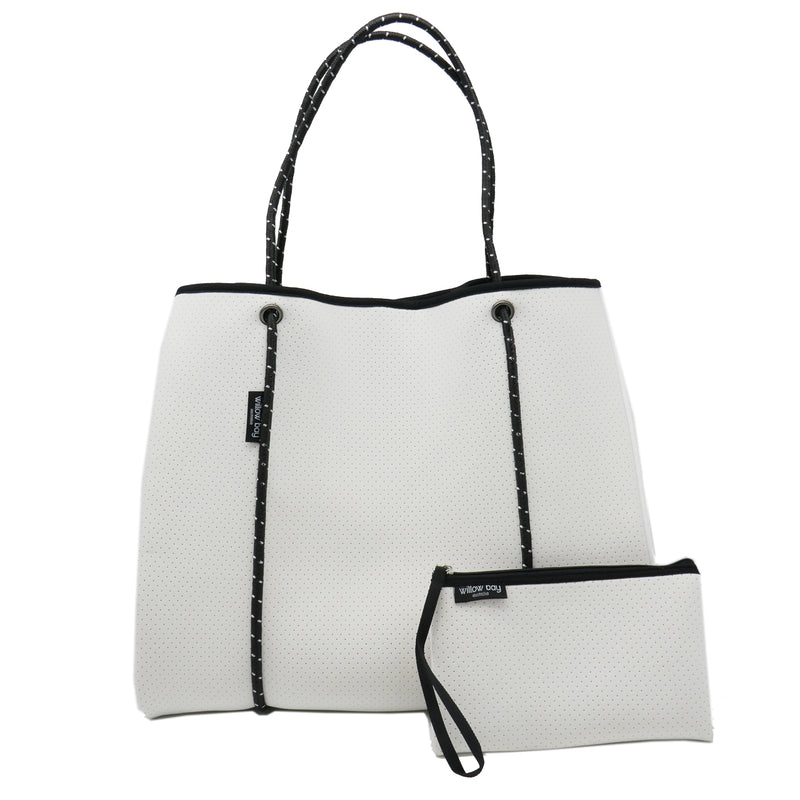 DAYDREAMER X/LARGE Neoprene Tote Bag with Closure - White