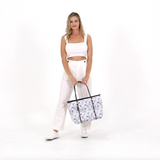 BOUTIQUE Neoprene Tote Bag With Zip - MARBLE