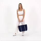 Beg Tote Neoprene BOUTIQUE Dengan Zip - NAVY / WHITE