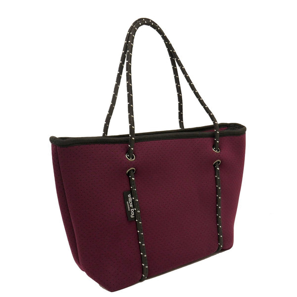 BOUTIQUE MINI Neoprene Tote Bag With Zip - BURGUNDY-Willow Bay Australia