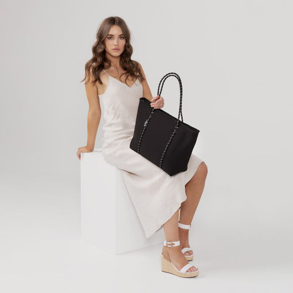 BOUTIQUE Neoprene Tote Bag With Zip - BLACK-Willow Bay Australia