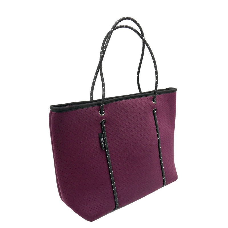 BOUTIQUE Neoprene Tote Bag With Zip - BURGUNDY-Willow Bay Australia
