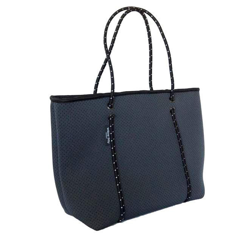 BOUTIQUE Neoprene Tote Bag With Zip - CHARCOAL-Willow Bay Australia