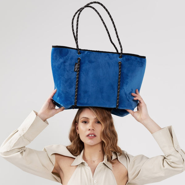 BOUTIQUE Neoprene Tote Bag With Zip - ELECTRIC BLUE VELVET-Willow Bay Australia