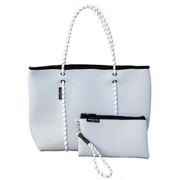 BOUTIQUE Neoprene Tote Bag With Zip - LIGHT GREY-Willow Bay Australia