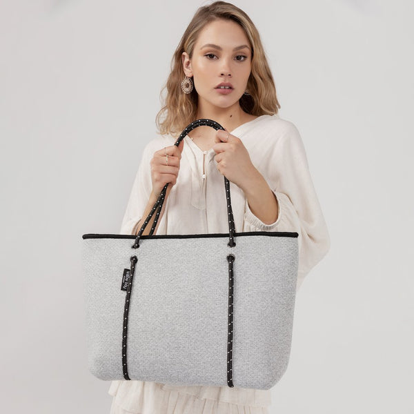 BOUTIQUE Neoprene Tote Bag With Zip - LIGHT MARLE-Willow Bay Australia