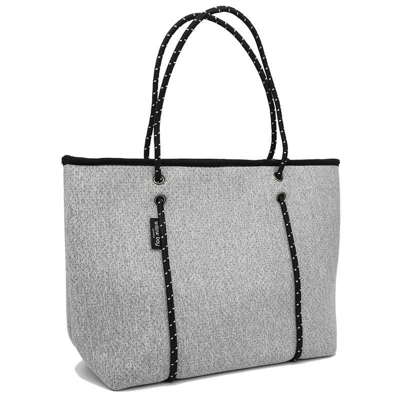 BOUTIQUE Neoprene Zip Tote - LIGHT MARLE-ZIP TOTE-Willow Bay Australia