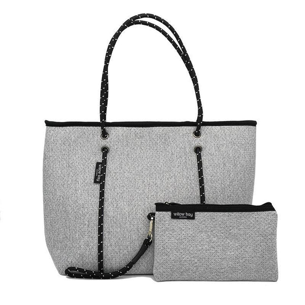 BOUTIQUE Neoprene Zip Tote - LIGHT MARLE-Willow Bay