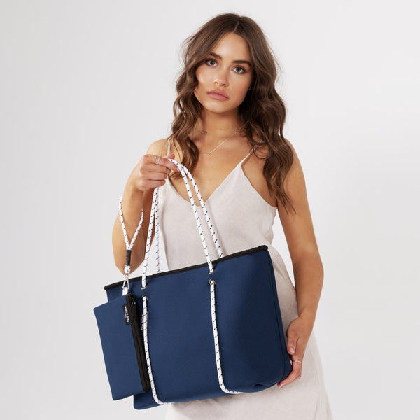 BOUTIQUE Neoprene Tote Bag With Zip - NAVY/WHITE-Willow Bay Australia