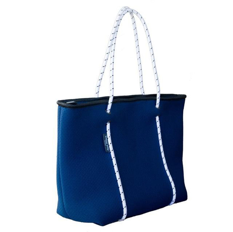 BOUTIQUE Neoprene Zip Tote - NAVY/WHITE-ZIP TOTE-Willow Bay Australia