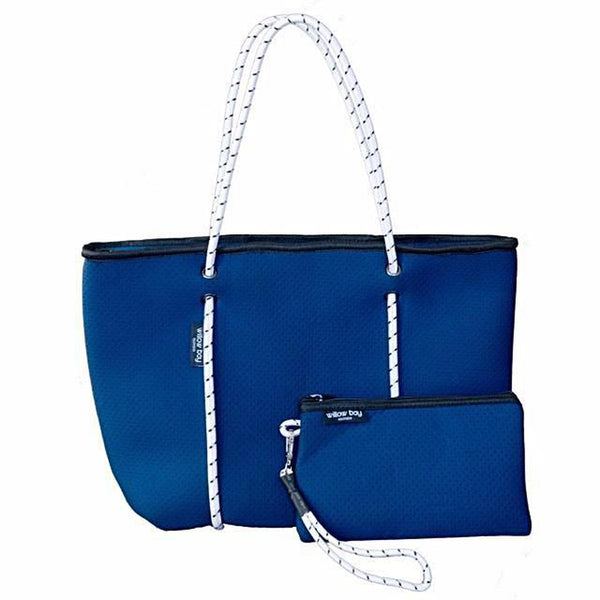 BOUTIQUE Neoprene Zip Tote - NAVY/WHITE-Willow Bay