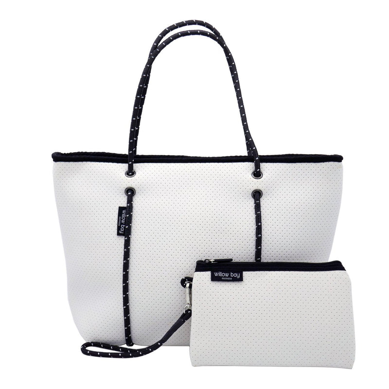 BOUTIQUE Neoprene Tote Bag With Zip - WHITE-Willow Bay Australia