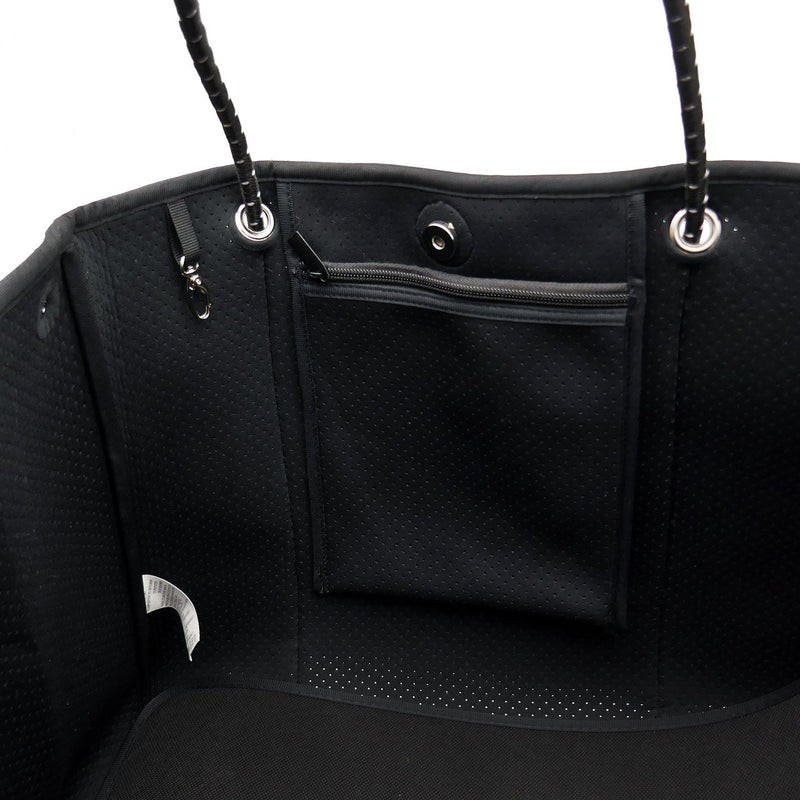 DAYDREAMER LARGE Neoprene Tote Bag with Closure - BLACK-Willow Bay Australia
