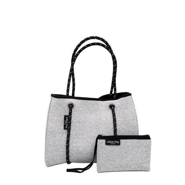 DAYDREAMER MINI Neoprene Tote with Closure - LIGHT MARLE-Tote Bag-Willow Bay Australia