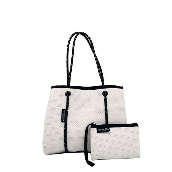 DAYDREAMER MINI Neoprene Tote with Closure - WHITE-Tote Bag-Willow Bay Australia
